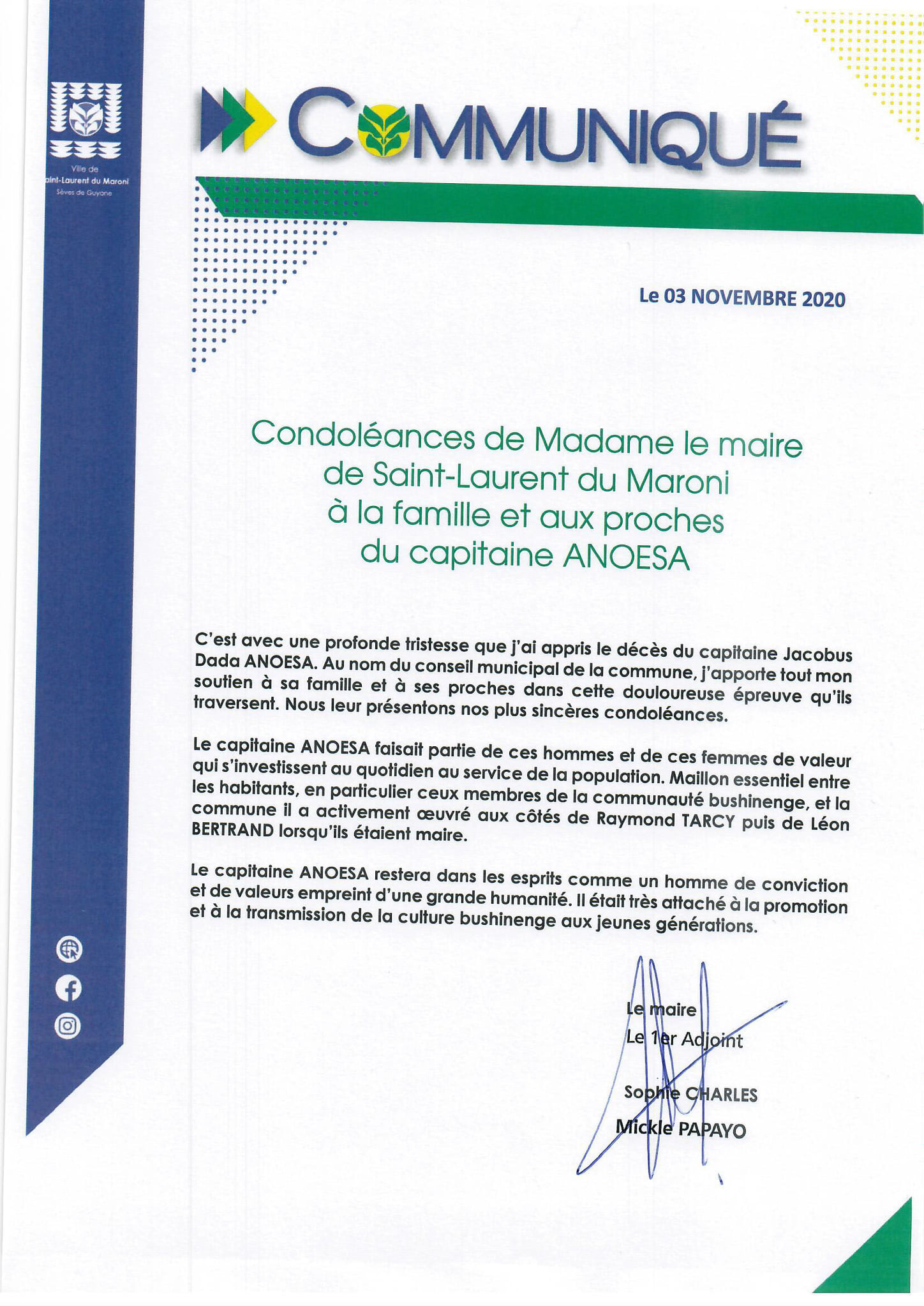 #communiqué : condoléances de Madame le maire de #saintlaurentdumaroni à la famille et aux proches du capitaine ANOESA