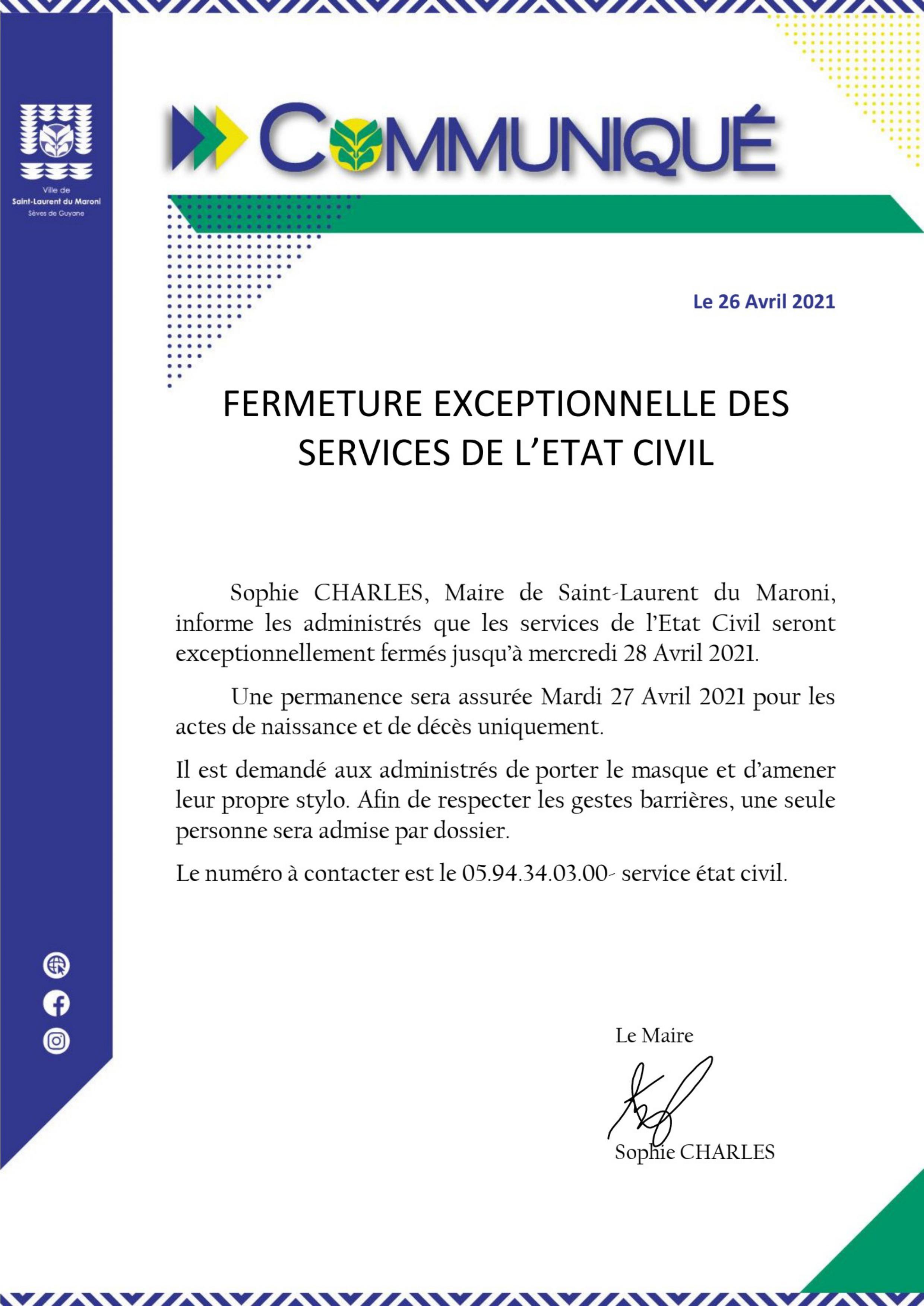 #Communiqué : Fermeture exceptionnelle des services de l'État Civil