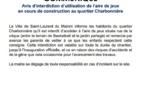 [Communiqué] : Avis d'interdiction d'utilisation de l'aire de jeux en cours de construction au quartier Charbonnière
