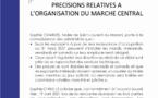 #Communiqué : Précisions concernant l'organisation du marché central