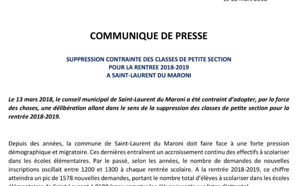 SUPPRESSION CONTRAINTE DES CLASSES DE PETITE SECTION  POUR LA RENTREE SCOLAIRE 2018-2019  A SAINT-LAURENT DU MARONI