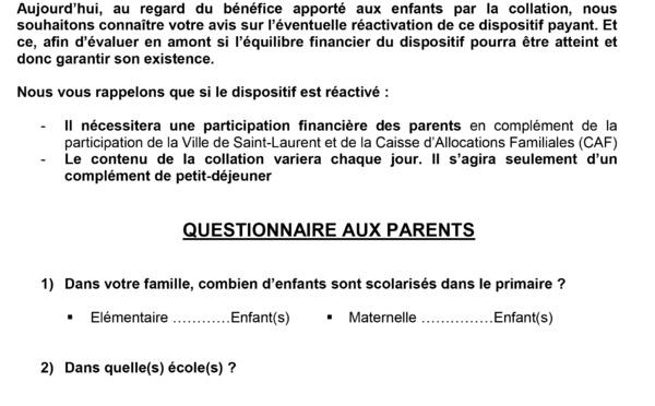 Sondage auprès des parents d'élèves du primaire concernant la collation pour la rentrée 2018-2019