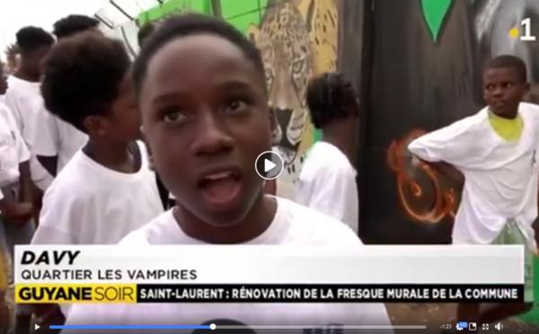 Nos jeunes ont du talent : décoration de la fresque d'entrée de ville par les jeunes de Saint-Laurent