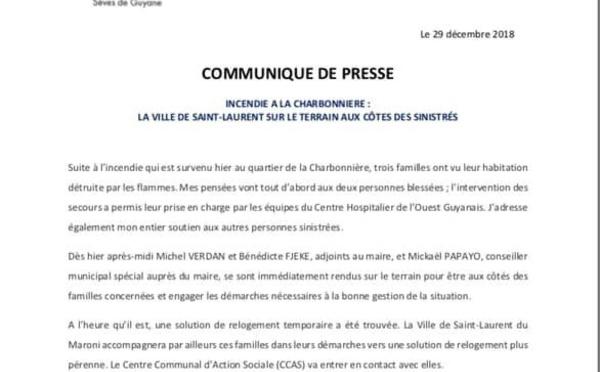[Vie de nos quartiers] : incendie à la Charbonnière - la Ville de Saint-Laurent sur le terrain aux côtés des sinistrés