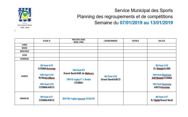 [Sport] : Planning des compétitions - Semaine 02