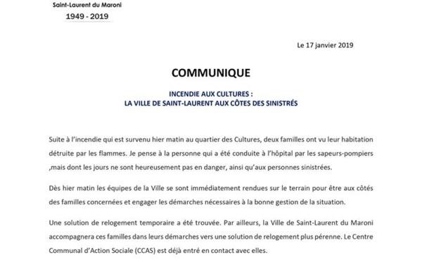 [Vie des quartiers] : incendie aux Cultures - la Ville de Saint-Laurent aux côtés des sinistrés