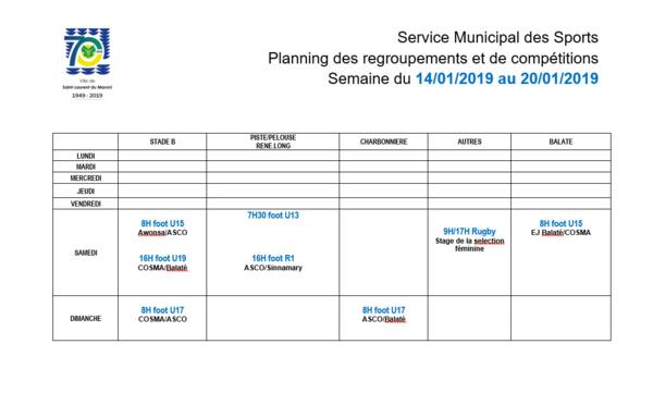 [Sport] : Planning des compétitions - Semaine 03