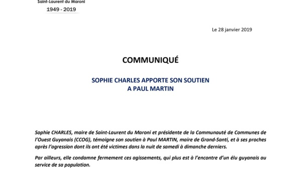 [Communiqué] : Sophie CHARLES apporte son soutien à Paul MARTIN