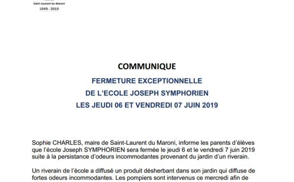 [COMMUNIQUE] : Fermeture exceptionnelle de l'école Joseph SYMPHORIEN les jeudi 6 et vendredi 7 juin 2019