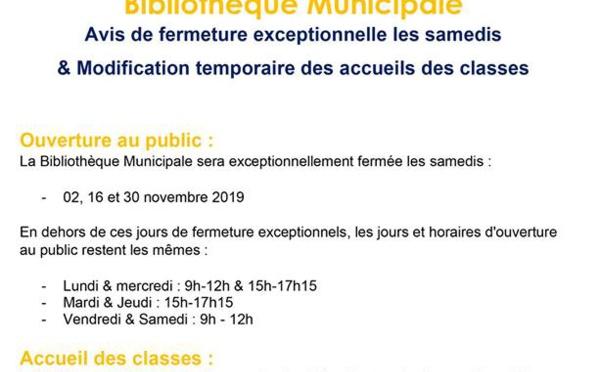 [CULTURE / COMMUNIQUÉ] : fermeture exceptionnelle de la bibliothèque municipale les samedis et modification temporaire des accueils des classes