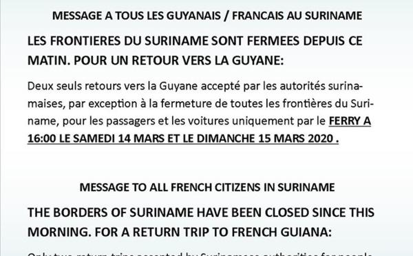 [Coronavirus guyane] : fermeture de la frontière avec le Suriname.