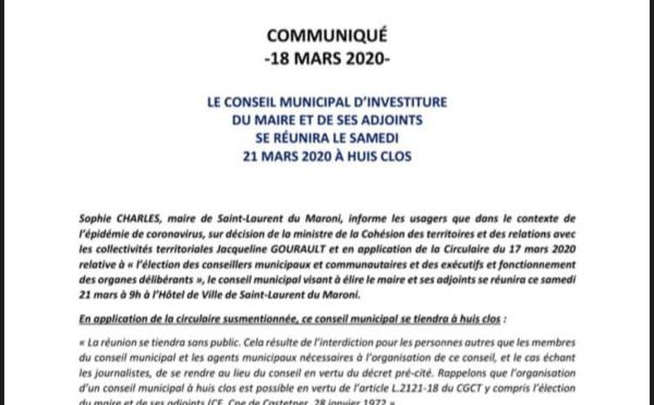 [Conseil municipal] : le conseil municipal se réunira à huis clos le samedi 21 mars 2020