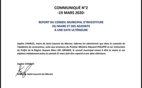 [Conseil municipal] : report du conseil municipal d'installation du maire et des adjoints de Saint-Laurent du Maroni