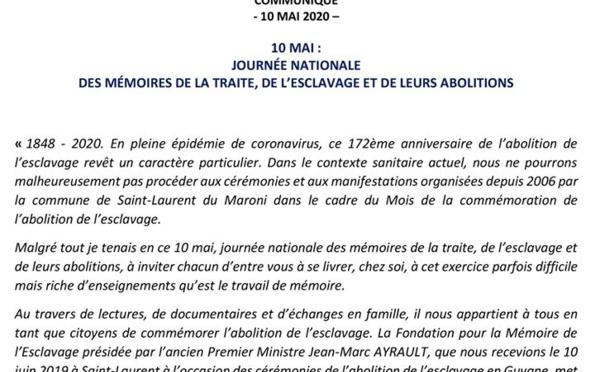 [#commémoration] : communiqué de Madame le maire de #saintlaurentdumaroni, Sophie CHARLES, à l'occasion du 10 mai, journée nationale des mémoires de la traite, de l'esclavage et de leurs abolitions