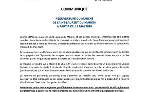 [#marché] : réouverture du marché central de #saintlaurentdumaroni à partir du mercredi 13 mai 2020