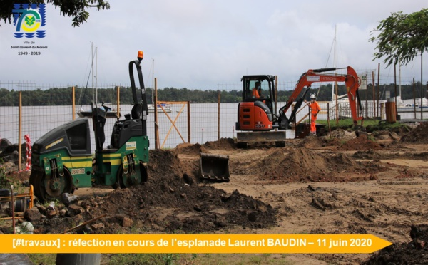 [#travaux] : réfection en cours de l'esplanade Laurent BAUDIN