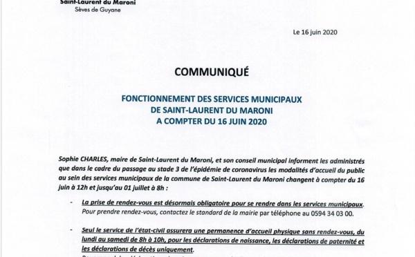 [#communiqué] : fonctionnement des services municipaux de la commune de Saint-Laurent du Maroni à compter du 16 juin 2020