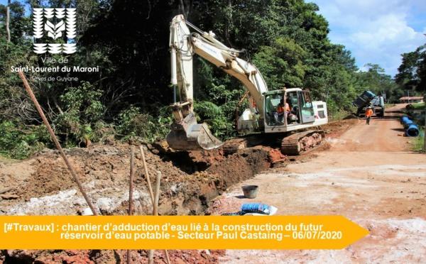 [#Travaux] : chantier d'adduction d'eau en lien avec la construction du futur réservoir d'eau potable sur le secteur Paul Castaing