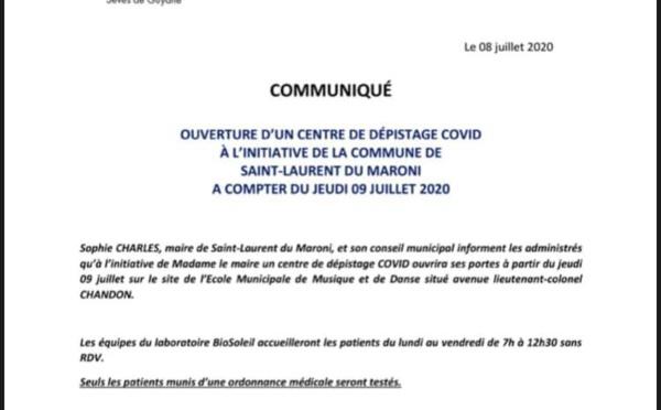 [#DépistageCovid] : ouverture d'un centre de dépistage COVID à #SaintLaurentduMaroni