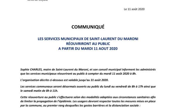 [#ServicesMunicipaux] : réouverture au public des services municipaux à compter du mardi 11 août 2020