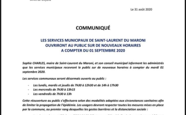 [#ServicesMunicipaux] : ouverture au public sur de nouveaux horaires à compter du 01 septembre 2020