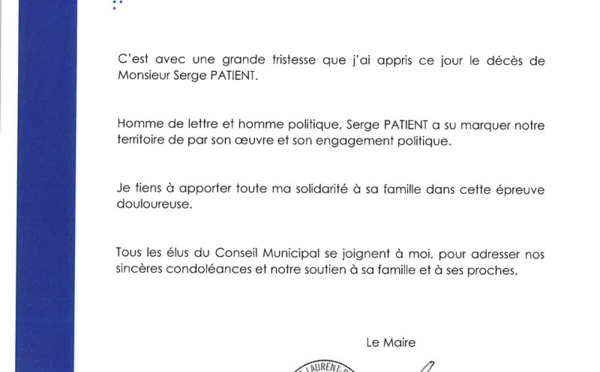 #Condoléances : A Serge Patient, homme de lettre et homme politique