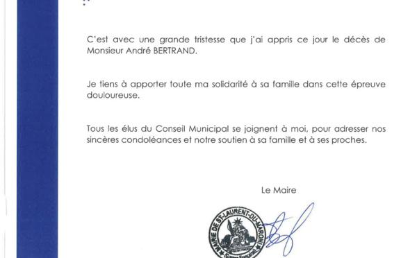#Condoléances de Madame Sophie CHARLES, Maire de Saint-Laurent du Maroni et de l'ensemble du conseil municipal à la famille et aux proches de André BERTRAND