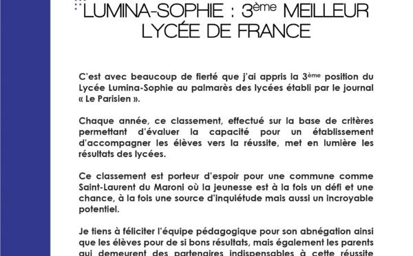 #Communiqué : Lumina-Sophie, 3ème meilleur lycée de France