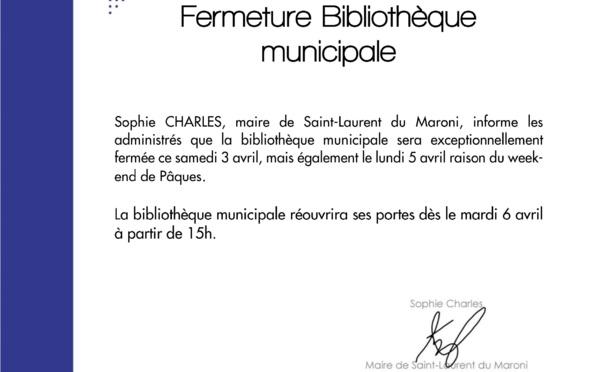 #Communiqué : Fermeture de la bibliothèque municipale pour le week-end de Pâques
