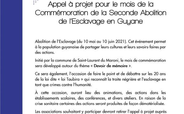 #Appelàprojet : Proposez vos idées pour le mois de la commémoration de la seconde abolition de l'esclavage en Guyane