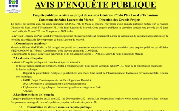 #PLU :  Avis d'enquête publique