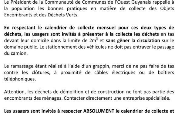 COMMUNIQUÉ du président de la Communaute de Communes de l'ouest guyanais