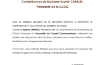 [Communiqué] : Sophie CHARLES, présidente de la CCOG et maire de Saint-Laurent du Maroni, présente ses condoléances suite à l'accident de la circulation intervenu le dimanche 15 septembre 2019 aux environs du carrefour de Mana.