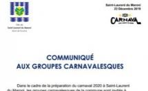[Carnaval 2020] : Communiqué aux groupes carnavalesques