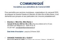 [Communiqué] : Inscriptions aux animations du carnaval 2020