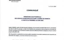 [#ServicesMunicipaux] : fermeture exceptionnelle des services municipaux de #saintlaurentdumaroni à compter du 19 juin 2020