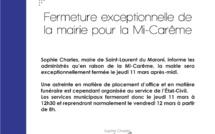#Communiqué : Fermeture exceptionnelle de la mairie pour la Mi-Carême