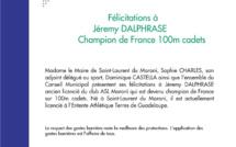 #Communiqué : Jeremy DALPHRASE, Champion de France 100m cadets